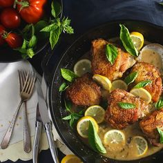 Skillet Chicken With Lemon, Garlic And Basil