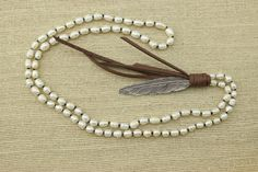 ETS-S080 leather pearl necklace pearl pendant by PearlJewellery