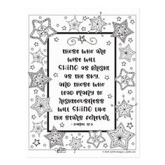Shop Inspirational Scripture Shine Like Stars Coloring Postcard created by JoDitt. Star Bible Verse, Bible Verses, Adult Coloring, Coloring Books, Diy Framed Art, Inspirational Bible Quotes, Custom Posters, Cute Quotes, Graduation Gifts