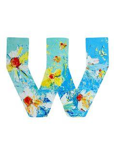 Letter W floral print.  #letterw #wordart