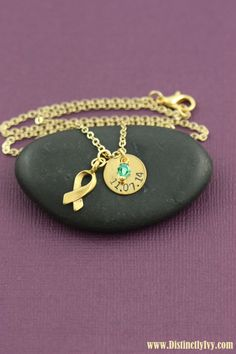 Personalized cancer memorial necklace with birthstone