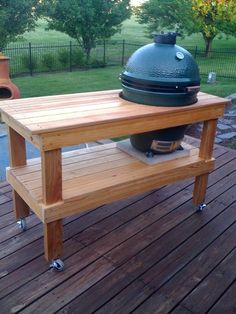 Cypress cart for Big Green Egg Woodworking Apron, Rockler Woodworking, Woodworking Basics, Woodworking Ideas, Woodworking Tools, Big Green Egg Table, Green Eggs, Grill Table, Grill Cart
