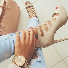Brand New LolaShoetique Laceups!! Nude lace up pumps... Never been worn. Perfect for Spring! Shoes Lace Up Boots