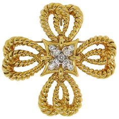 vintage tiffany jewelry | Vintage Tiffany and Co. Diamond and Gold Maltese Cross Pendant /Pin at ...