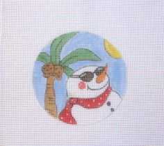 Tropical Snowman on the Beach  Handpainted by MarsyesNPCanvas