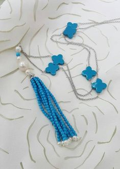 Turquoise Tassel Necklace Four Leaf Clover Freshwater Pearl Sterling Silver Chain Necklace Trendy Jewelry Clover Necklace, Tassel Necklace, Pearl Chain, Leaf Flowers, Four Leaf Clover, Trendy Jewelry, Beautiful Necklaces, Sterling Silver Chains, Tassels
