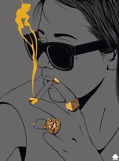 Femme - Visage - Cigarette - Lunettes - Sexy - Gif animé - Gratuit