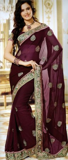Wine faux chiffon saree designed with resham, zari and patch border work. As shown matching blouse can be made available and also can be customized as per your style or pattern subject to fabric limitation. (Slight variation in color is possible. Chiffon Saree, Saree Dress, India Fashion, Asian Fashion, Tokyo Fashion, Indian Dresses, Indian Outfits, Indian Clothes, Party Kleidung