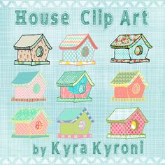 House Clip art- INSTANT DOWNLOAD -FOR cards, scrapbooking, mixed media art, digital art, printng, birthdays, party decoration