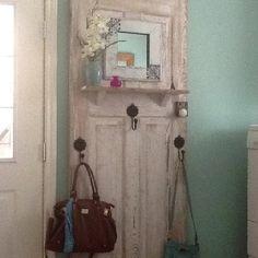 """My version of the """"old door as purse/coat rack"""" idea"""