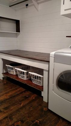 This is the Best Laundry Room Ideas On a Budget we ever seen. DIY Laundry Room Remodel Ideas for Organization, Storage, Small, Unique, and Narrow Laundry Room Folding Table, Laundry Room Shelves, Laundry Room Remodel, Farmhouse Laundry Room, Laundry Room Organization, Laundry Room Design, Laundry Storage, Folding Tables, Storage Shelves