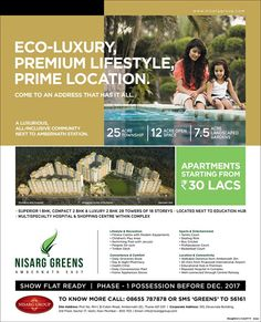 Check out our ad in MiD DAY Nisarg Greens - Ambernath East Show Flat Ready Phase-1 Possession before Dec. 2017 Apartments starting from Rs. 30 Lacs http://www.nisarggroup.com/greens/ #RealEstate #MidDay #Newspaper #Ad #LuxuriousLiving #Nature #Ambernath