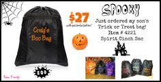 Trick or Treat Bags personalized!  www.mythirtyone.com/ashleyhaley www.facebook.com/tworustichearts