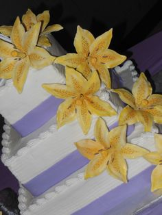 Yellow Lily Wedding Cake  ~ NutMeg Confections
