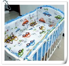 Promotion! 6PCS Cotton Baby Cot Bedding Set Cartoon Crib Bedding Set Detachable (bumpers+sheet+pillow cover)