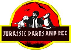 jurassic parks and rec stickers. Different sizes available.