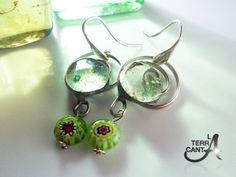 Orecchini in vetro fusione verde con murrina di LaTerraCanta, €30.00