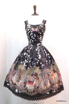 Haenuli Enchanted Fawn jsk in grey « Lace Market: Lolita Fashion Sales and Auctions