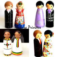 CUSTOM Multicultural Wedding Cake Toppers  by mysakuraprincess