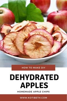 How to make dehydrated apple chips in dehydrator. Dehydrated apples make a healthy snack! Make slices or rings apple chips in dehydrator. This is an easy recipe for apple chips with cinnamon or without. Learn how to make home made dried apple chips and how to store them. #apples #dehydrator Dried Apple Chips, Cinnamon Apple Chips, Dried Apples, Apple Snacks, Apple Recipes, Healthy Cooking, Healthy Snacks, Healthy Recipes, Cooking Tips