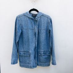 Vintage Denim Hoodie Great condition, fun hidden zipper detail, great pockets, true to size Vintage Jackets & Coats Jean Jackets