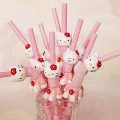 smartypurchase 1X Hello Kitty Pink Drinking Straw For Birthday & Wedding decor