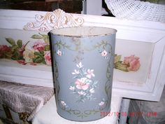Vintage 1940's Tole Hand Painted Wast Basket by thebedpost02, $19.00