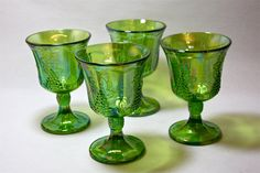 Green Carnival glass goblets. I have this set.