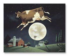 "The Artwork of Lowell Herrero  ""Cow Jumps Over the Moon"""