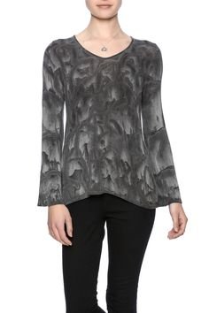 Grey printed bell sleeve top with a v-neckline and soft fabric.  Bell Sleeve Top by Red Haute. Clothing - Tops - Long Sleeve Long Island