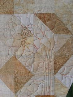 Quilting detail - naturalistic flower