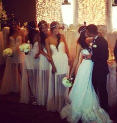 Potential wedding idea (; love the bridesmaids dresses!