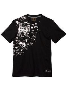 Marc Ecko t-shirt featuring TIE fighters and X-Wings in a foiled print.
