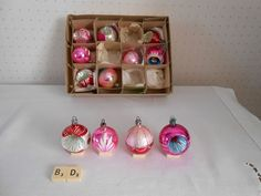 Vintage retro red pink concave glass Christmas tree baubles decoration ornament | eBay