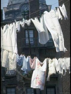 size: Photographic Print: Laundry on Line in Slum Area in New York City by Vernon Merritt III : Artists