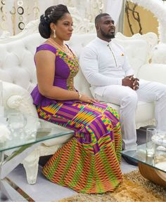 Love her kente ~African fashion, Ankara, kitenge, African women dresses, African… Couples African Outfits, African Dresses For Women, African Attire, African Wear, African Fashion Dresses, African Women, African Style, Couple Outfits, African Beauty