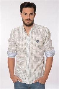 Valecuatro camisa blanca fantasia con pequeños topitos y dibujos en azul marino disponible www.enriquepellejeromoda.com