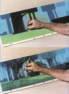 Eyvind Earl creating the background art for Sleeping Beauty (1952-1959)