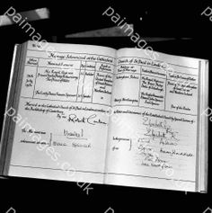 :July 29, 1981: The Marriage Register for Prince Charles & his bride, Lady Diana Spencer who were married in Saint Paul's Cathedral.