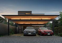 Modern Carport, Modern Garage, Modern Pergola, Car Porch Design, Garage Design, Carport Garage, Garage Plans, Rooftop Terrace Design, Car Shelter