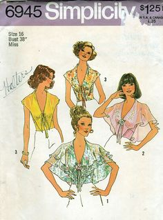 228835e3a33 Simplicity 6945 Vintage Misses  Halter Tops Sewing Pattern - Uncut - Size  12 - Bust 34