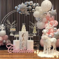 ❄️Catalina's Winter Wonderland ❄️ 💖💖💖 - - - Concept/ styling/ props/ desserts Balloons Foam name… Winter Onederland Party Girl 1st Birthdays, Winter Wonderland Birthday, Winter Birthday Parties, Birthday Party Decorations, Christmas Party Themes, Birthday Ideas, Baby Shower Winter, Baby Winter, Baby Shower Themes
