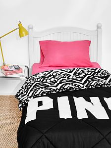 Bed in a Bag Comes with a reversible comforter, sheet set and pillow cases. In cute colors and prints to deck out your dorm room or bedroom. Only from Victoria's Secret PINK.