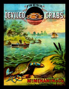Virginia Deviled Crab Refrigerator Magnet   by LABELSTONE on Etsy