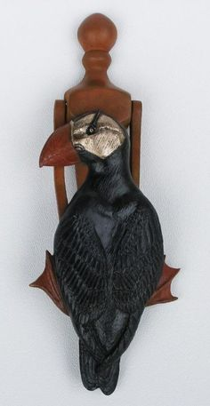 Bronze puffin mounted on a brass door knocker; Door Knobs And Knockers, Knobs And Handles, Door Hinges, Door Knockers Unique, Cool Doors, Unique Doors, Door Fittings, Door Detail, D House