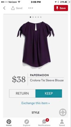 Love tie sleeve blouses!!  Just not really a purple fan...