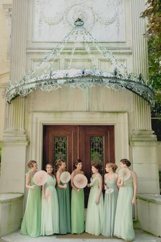Green ombre bridesmaids dresses - from mint to celery to sage