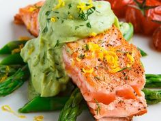 Hollandaise Sauce Recipes Pan Seared Salmon Salmon Fillets Seafood Recipes Cooking Ideas Avocado Dinner Ideas Food Network Trisha Food Dishes