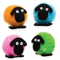 Buy Mini Pom Pom Fluffy Sheep at Baker Ross. Mini fluffy pom pom sheep to decorate cards and crafts. Pom Pom Crafts, Yarn Crafts, Craft Stick Crafts, Craft Kits, Pom Pom Animals, Pom Pon, Felt Decorations, Easter Crafts For Kids, Spring Crafts