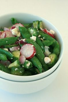 sugar snap peas, red radishes, cucumber, feta, and red onion